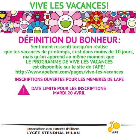Programme Vive les Vacances de Printemps!